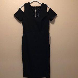 Express black cold shoulder midi dress